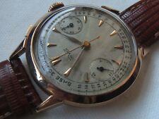 Unver chronograph big mens wristwatch 18K solid gold case load manual