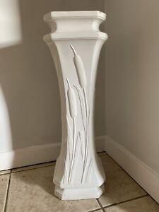 White Jardiniere Column Pedestal Plant Planter Retro Indoor Use Display Stand