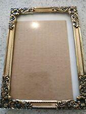 Vintage ornate garland goldtone brass picture frame 6x4