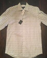 NWT  Pronto Uomo Black/Grey/White Plaid Button Up Shirt Size Medium Dress Shirt