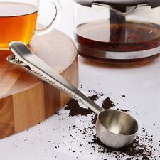 1Pc Stainless Steel Ground Coffee Measuring Spoon Scoop With Bag Seal Clip
