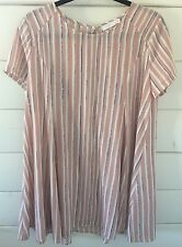 LUSH NORDSTROM BLUSH WHITE STRIPE SWING DRESS Size Medium Perfect Condition