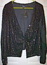 """Torrid"" Long Sleeve Evening Jacket~Sequin~Black~2~NWT"