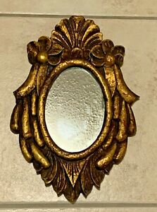 Antique Florentine wood w/ Gold Gilt  Accent, Oval Sculptured  Mirror