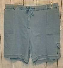 Womens Denim & Co. Thin Light Blue Denim Shorts Size 1X NEW WITH TAGS!