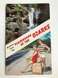 GREETINGS from the PLAYGROUND of the OZARKS vintage POSTCARD, 1961, pin up girls