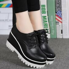 Ladies Lace Up Round Toe High Wedge Heel Platform Creepers Faux  Leather Spring