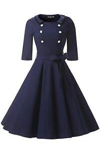 Gigileer Women's Dress Vintage 3/4 Sleeve Navy Style Belted Retro Evening New L