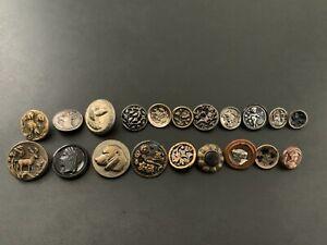 Lot of (20) Antique Vintage Metal Picture Buttons - BUTTON AUCTION #10