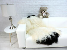 REAL ICELANDIC SHEEPSKIN XXL RUG SINGLE WHITE BLACK CURLY HAIR #206