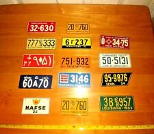 X 14 1953,54 Wheaties Cereal Premium Mini License Plates German,Arabic,US