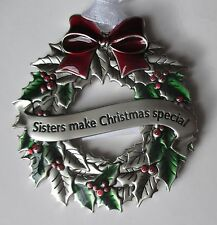 c Sisters make CHRISTMAS special HOLLY WREATH ORNAMENT ganz car charm holiday