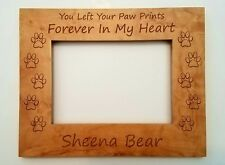 Personalized Pet Picture Frame You left your paw prints forever in my Heart name