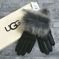 UGG AUSTRALIA BLACK LEATHER TOSCANA TOUCH SCREEN GLOVES SIZE SMALL RETAIL £120