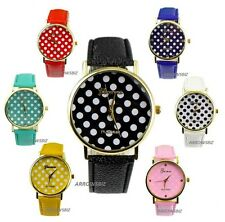 New Ladies Polka Dots Dial Fashion Analog Wrist Watch Leather Strap 8 Colors