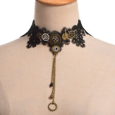 Vintage Goth Necklace Lady Black Lace Gear Small Bell Choker Steampunk Necklace