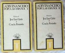 ADIVINANCERO POPULAR ESPAÑOL I y II - VARIOS AUTORES - ED. TAURUS 1986 - VER