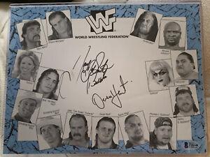 Owen Hart British Bulldog Davey Boy Smith Autographed WWF Photo Beckett BAS WWE