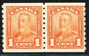 King George V Scroll Issue Scott's # 160 1 cent coil pair orange MNH CV $240. US