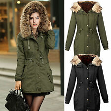 AU Winter Womens Long Coat Fur Warm Hooded Parka Thicken Overcoat Jacket Outwear