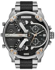 DIESEL DADDY 2.0 BLACK SILVER CHRONOGRAPH WATCH STAINLESS STEEL BNIB