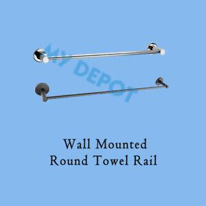 Wall Mounted Towel Rack Round Single Rail Stainless Steel Chrome Black Bathroom