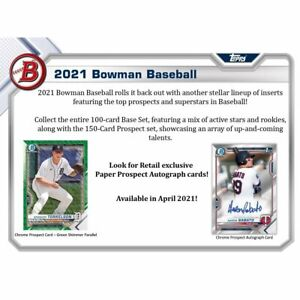 2021 Bowman Factory-Sealed Retail Blaster Boxes (6 packs) Presell 5/12