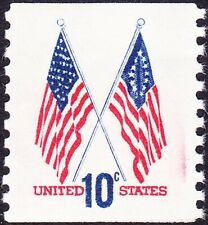 US - 1973 - 10 Cents Crossed Flags Coil Issue with Red Ink Smear # 1519 Mint NH