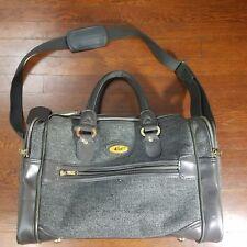 Verdi Vintage Gray Tweed Small Carryon Messenger Bag Luggage