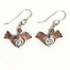 Jo Stafinbil Designer Earrings Copper Birds with Silver Hearts