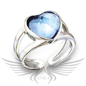 Brilliant Heart Shaped Blue Top Grade Crystal Engagement Fashion Ring 411813