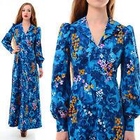 Vtg 60s 70s HAWAIIAN Tropical Floral OP ART Hippie Boho Empire Full Maxi Dress M