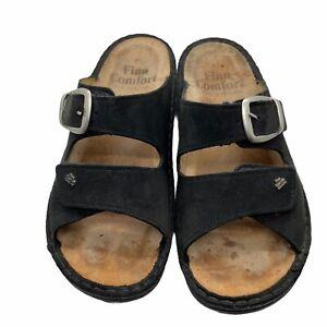 Finn Comfort Womens Black Leather Slip On Slide Sandals Size US 9.5 EUR 40