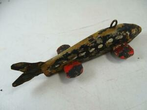 """Antique Wood Hand Painted Folk Art Fish Decoy Weighted Tin 1800s 5"""" Long Fishing"""
