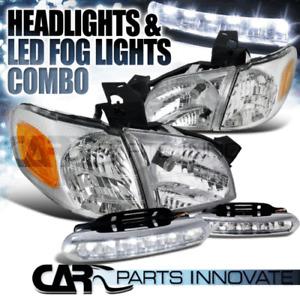 97-05 Venture Silhouette 99-05 Montana Chrome Head Corner Lights+LED Fog Lights