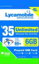 Lycamobile $35 Plan 1st Month Free Triple Cut SIM Card 4G Unlimited Talk & Text