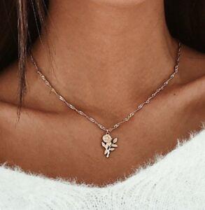 Delicate Gold Rose Necklace Chain Pendant Alloy Vintage Flower Leaf Stem UK