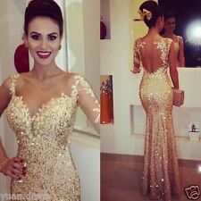 Gold Evening Pageant Prom Dresses Long Sleeve Mermaid Party banquet Dress 2018