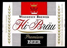 Jos Huber HI-BRAU PREMIUM BEER label WI 12oz with crowns Var. #1