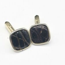 VINTAGE GOLD PLATED LEATHER INSET GENTS MANS CUFFLINKS CUFF LINKS