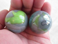 2 BOULDERS 35mm THUNDERBOLT Marbles glass ball Green/Blue/Grey Giant LARGE Swirl