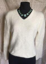 Twiggy Ivory Cream Angora Blend V-Neck Sweater Size Medium