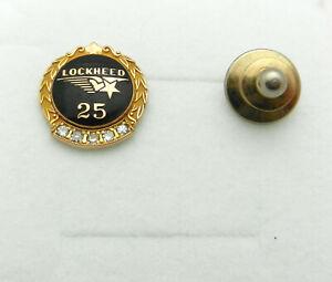 Solid 10k Gold Lockheed 25 Year Employee Service Award Pin with 5 Diamonds