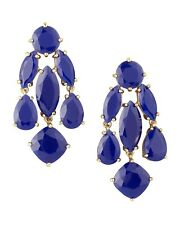 NWT Authentic Kate Spade Blue Royal Statement Gold Chandelier Earrings