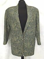 Linda Allard  for Ellen Tracy Womens Petite 100% Silk Olive Green & Tan Blazer 4