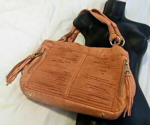 B Makowsky Leather Tassel Satchel Salmon Orange Purse Bag Leopard Cheetah Fringe