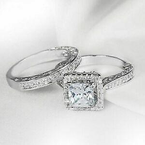 14K White Gold FN 2.60 CT Princess Cut CZ Bridal Set Anniversary 925 Silver Ring
