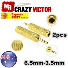 """2pcs 6.35mm 1/4"""" Female to 3.5mm Male Stereo Audio Jack Adapter Converter 6.5mm"""
