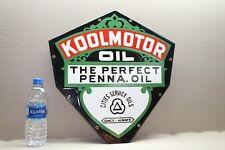 "18"" CITIES SERVICE KOOLMOTOR OIL 2-SIDED  PORCELAIN SIGN GAS OIL CAR FARM"