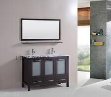 "48"" Double Vanity Bathroom Ceramic Sink Cabinet Combo Set & faucet 80"